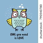 hand drawn owl with quote. owl... | Shutterstock .eps vector #790540780