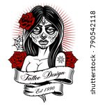 tattoo girl. latino tattoo... | Shutterstock .eps vector #790542118