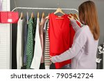 woman choosing outfit in...   Shutterstock . vector #790542724