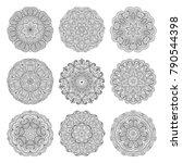 flower vector mandalas set.... | Shutterstock .eps vector #790544398