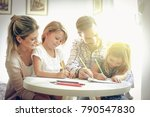 father and mother drawing with... | Shutterstock . vector #790547830