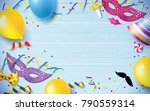 carnival background flat lay.... | Shutterstock .eps vector #790559314