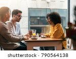 group of happy friends chatting ... | Shutterstock . vector #790564138
