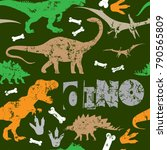 seamless  dino pattern  print... | Shutterstock .eps vector #790565809