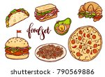 different countries fast food... | Shutterstock .eps vector #790569886