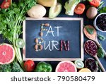 fat burn on a chalkboard... | Shutterstock . vector #790580479