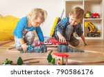 children playing with wooden... | Shutterstock . vector #790586176