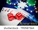 Small photo of Concept of betting addiction with addicted word