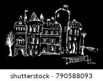 black and white drawing of the... | Shutterstock .eps vector #790588093