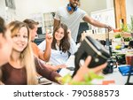 group of young people employee...   Shutterstock . vector #790588573