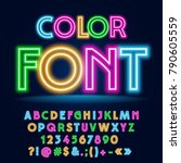 vector funny colorful neon font.... | Shutterstock .eps vector #790605559