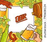 vector cartoon beer symbols... | Shutterstock .eps vector #790608124