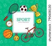 vector sketch sport symbols... | Shutterstock .eps vector #790608130