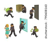 thief in mask breaking into...   Shutterstock .eps vector #790608160