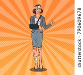 pop art injured business woman... | Shutterstock .eps vector #790609678