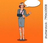 pop art beaten business woman... | Shutterstock .eps vector #790610008