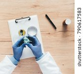 overhead view of laboratory... | Shutterstock . vector #790617583