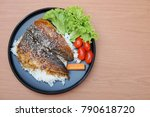 mackerel fish barbecue with... | Shutterstock . vector #790618720