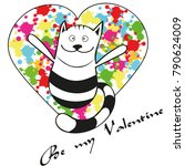 valentine card with cat | Shutterstock .eps vector #790624009