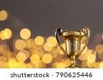 gold award trophy against... | Shutterstock . vector #790625446