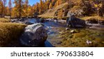 la clar e river with larch... | Shutterstock . vector #790633804