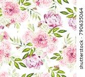 beautiful watercolor pattern... | Shutterstock . vector #790635064