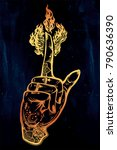 human tattooed hand with magic... | Shutterstock .eps vector #790636390