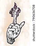 human tattooed hand with magic... | Shutterstock .eps vector #790636708
