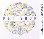 Stock vector pet shop concept in circle with thin line icons cat dog collar kennel grooming food toys 790641379