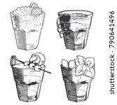 old fashioned cocktails set | Shutterstock .eps vector #790641496