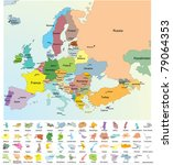 European map with all europe countries name, capital, detailed national borders. Vector include countries with limited recognition