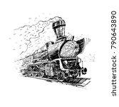 retro steam locomotive. vector... | Shutterstock .eps vector #790643890