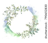 watercolor frame. botanical... | Shutterstock . vector #790652830