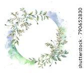 watercolor frame. botanical... | Shutterstock . vector #790652830
