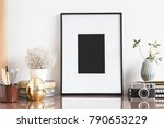 mock up photo frame  camera and ... | Shutterstock . vector #790653229
