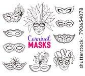 hand drawn carnival masks...   Shutterstock .eps vector #790654078