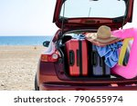 summer car and suitcase  | Shutterstock . vector #790655974
