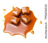 Small photo of Caramel with sauce. Golden Butterscotch toffee candy caramels. Sweets with copy space, macro.