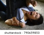 women are attacked by criminals. | Shutterstock . vector #790659853