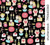 vector seamless pattern with... | Shutterstock .eps vector #790660360