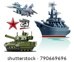 set of cartoon military... | Shutterstock .eps vector #790669696
