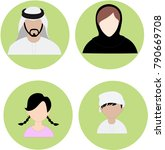 emirates family icon set   arab ... | Shutterstock .eps vector #790669708
