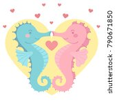 cute seahorse couple blue pink... | Shutterstock .eps vector #790671850