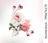 bouquet of roses  watercolor ...   Shutterstock .eps vector #790676170