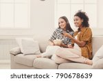 smiling young women relaxing... | Shutterstock . vector #790678639