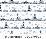 lighthouse  ship  waves and... | Shutterstock .eps vector #790679923