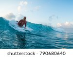 woman surfer starts ride the... | Shutterstock . vector #790680640