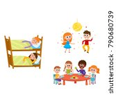 vector summer camp kids set.... | Shutterstock .eps vector #790680739