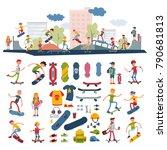 skateboarders on skateboard... | Shutterstock .eps vector #790681813