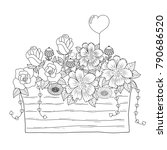 coloring book page of flower... | Shutterstock .eps vector #790686520